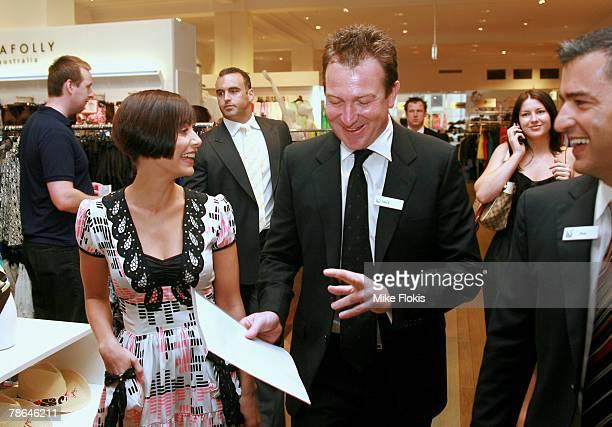 David Jones CEO Mark McInnes singer Natalie Imbruglia and David Jones Group General manager Paul Zahra attend the launch of the David Jones clearance...