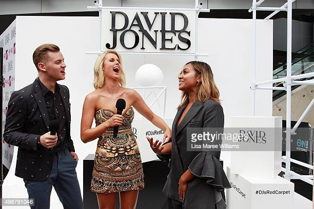 David Jones hosts Joel Creasey Olivia Phyland speak with Jessica Mauboy ahead of the ARIA Awards 2015 at The Star on November 26 2015 in Sydney...