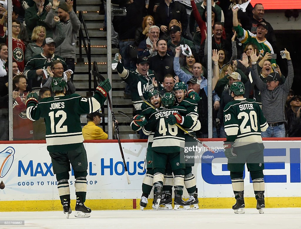 David Jones #12, Jason Zucker #16, Jared Spurgeon #46, Charlie Coyle #3 and Ryan Suter #20 of the Minnesota Wild celebrate a goal against the Dallas Stars by Coyle during the second period of Game Four of the Western Conference First Round during the 2016 NHL Stanley Cup Playoffs on April 20, 2016 at Xcel Energy Center in St Paul, Minnesota.