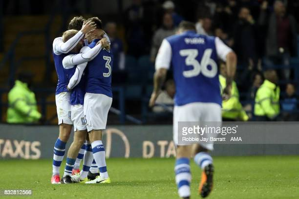 David Jones of Sheffield Wednesday celebrates after scoring a goal to make it 11 during the Sky Bet Championship match between Sheffield Wednesday...