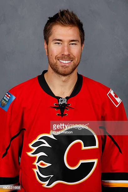 David Jones of the Calgary Flames poses for his official headshot for the 20152016 season on September 17 2015 at the WinSport Winter Sport Institute...