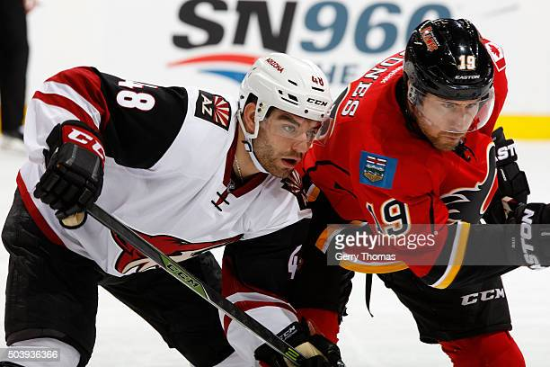 David Jones of the Calgary Flames prepares to face off against Jordan Martinook of the Arizona Coyotes at Scotiabank Saddledome on January 7 2016 in...