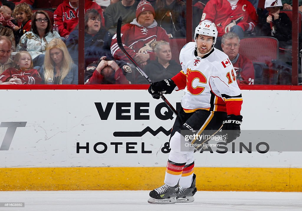 David Jones #19 of the Calgary Flames reacts after scoring a third period goal against the Arizona Coyotes during the NHL game at Gila River Arena on January 15, 2015 in Glendale, Arizona. The Flames defeated the Coyotes 4-1.