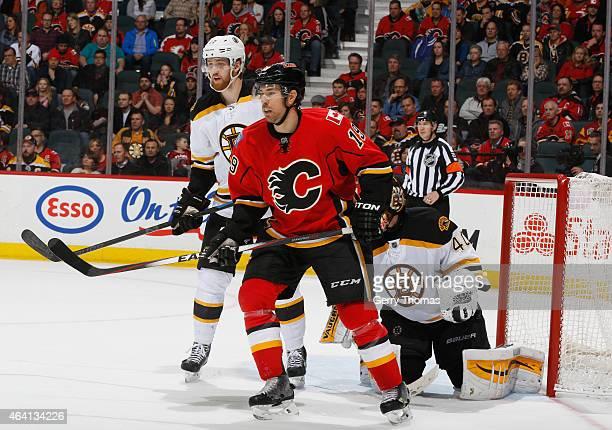 David Jones of the Calgary Flames skates against the Boston Bruins at Scotiabank Saddledome on February 16 2015 in Calgary Alberta Canada