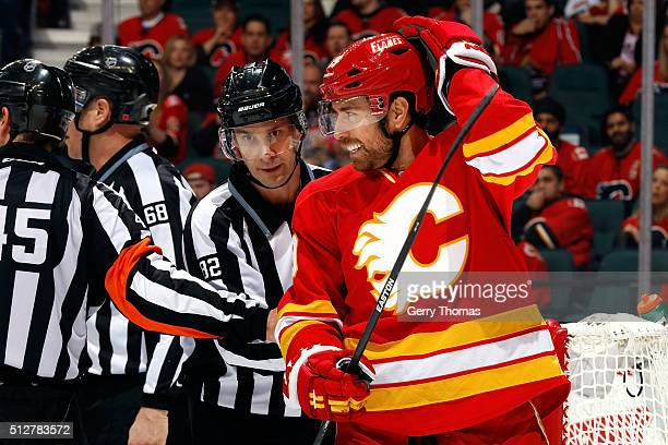David Jones of the Calgary Flames skates against the Ottawa Senators during an NHL game at Scotiabank Saddledome on February 27 2016 in Calgary...