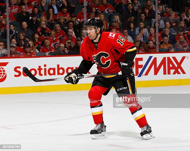 David Jones of the Calgary Flames skates against the San Jose Sharks at Scotiabank Saddledome on December 8 2015 in Calgary Alberta Canada