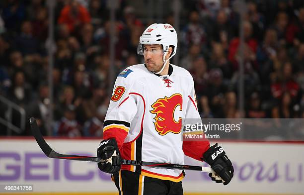 David Jones of the Calgary Flames skates during his 400th game against the Colorado Avalanche at the Pepsi Center on November 3 2015 in Denver...