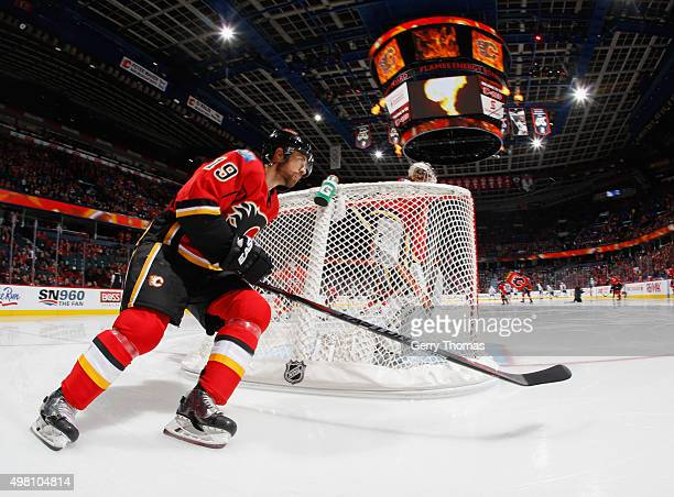 David Jones of the Calgary Flames skates prior to puck drop against the Chicago Blackhawks at Scotiabank Saddledome on November 20 2015 in Calgary...