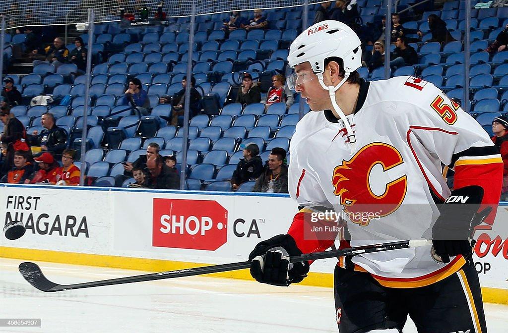 David Jones #54 of the Calgary Flames warms up to play the Buffalo Sabres at First Niagara Center on December 14, 2013 in Buffalo, New York.