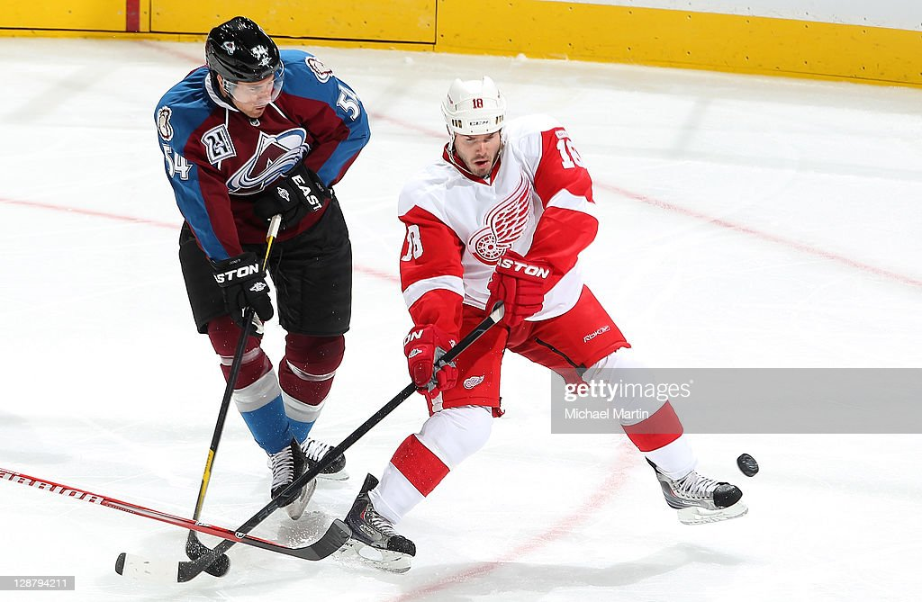 David Jones #54 of the Colorado Avalanche skates against <a gi-track='captionPersonalityLinkClicked' href=/galleries/search?phrase=Ian+White&family=editorial&specificpeople=581742 ng-click='$event.stopPropagation()'>Ian White</a> #18 of the Detroit Red Wings at the Pepsi Center on October 8, 2011 in Denver, Colorado.