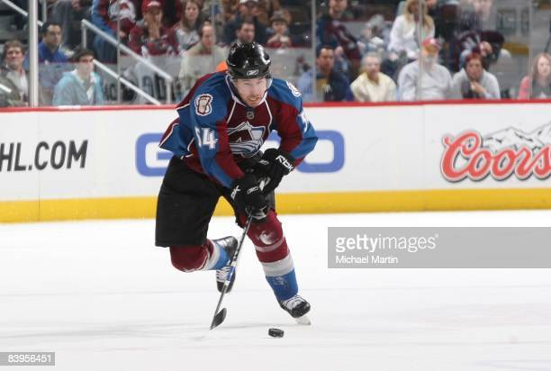 David Jones of the Colorado Avalanche skates against the Vancouver Canucks at the Pepsi Center on December 07 2008 in Denver Colorado The Avalanche...