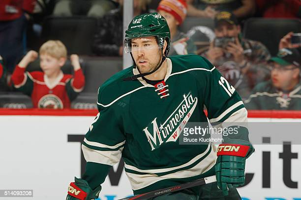 David Jones of the Minnesota Wild skates during warmups prior to the game against the St Louis Blues on March 6 2016 at Xcel Energy Center in St Paul...