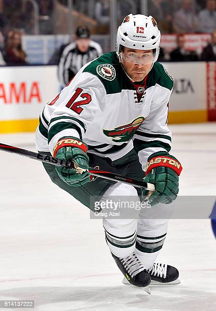 David Jones of the Minnesota Wild skates up ice against the Toronto Maple Leafs during game action on March 3 2016 at Air Canada Centre in Toronto...