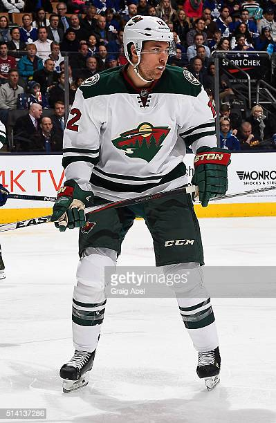 David Jones of the Minnesota Wild watches the play develop against the Toronto Maple Leafs during game action on March 3 2016 at Air Canada Centre in...