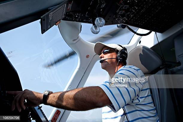 David Jude pilots an AgustaWestland Grand helicopter towards Foresight Energy LLC's Pond Creek longwall mine in Johnson City Illinois US on Monday...