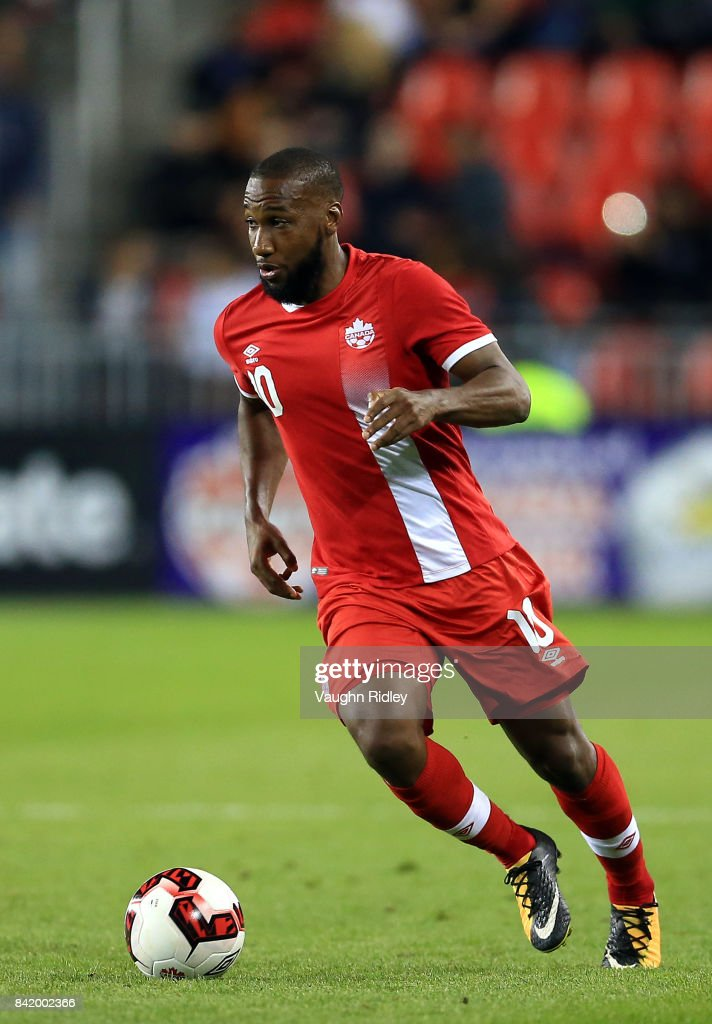 David Junior Hoilett #10 of Canada dribbles the ball during the second half of an International Friendly match against Jamaica at BMO Field on September 2, 2017 in Toronto, Canada.