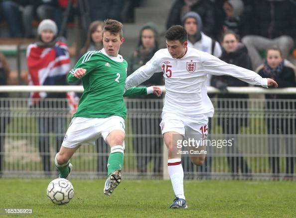 David Kammerbauer of Germany and Patrick Roberts of England in action during the Tournament of Montaigu qualifier match between U16 Germany and U16...