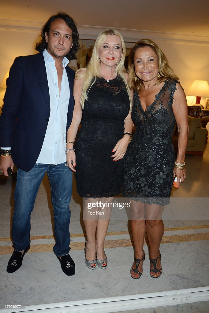David Kane, Monika Bacardi and Mrs Pierre Roizen attend the Massimo Gargia's Party hosted by Richard Roizen at Villa Les Acanthes In Saint-Tropez on August 11, 2013 in Saint Tropez, France.