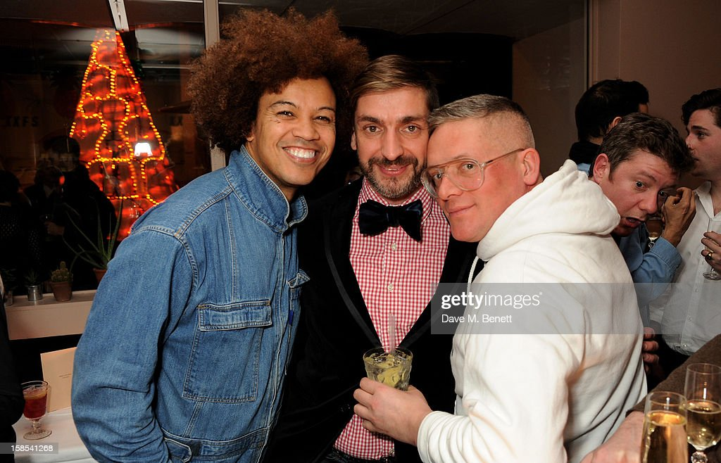 David Kappo, David Waddington and <a gi-track='captionPersonalityLinkClicked' href=/galleries/search?phrase=Giles+Deacon+-+Fashion+Designer&family=editorial&specificpeople=4321770 ng-click='$event.stopPropagation()'>Giles Deacon</a> attend the Katie Grand & Olivier Rousteing LOVE Christmas Party, hosted by Balmain, at Shrimpy's on December 18, 2012 in London, England.