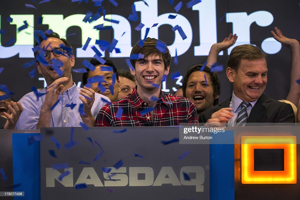 <a gi-track='captionPersonalityLinkClicked' href=/galleries/search?phrase=David+Karp&family=editorial&specificpeople=6603515 ng-click='$event.stopPropagation()'>David Karp</a>, founder of the micro-blogging site Tumblr, opens the NASCAQ Exchange on July 11, 2013 in New York City. Tumblr was bought by Yahoo! for $1 billion in May; Karp is estimated to be worth $200 million.