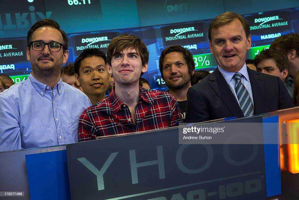 <a gi-track='captionPersonalityLinkClicked' href=/galleries/search?phrase=David+Karp&family=editorial&specificpeople=6603515 ng-click='$event.stopPropagation()'>David Karp</a> (C), founder of the micro-blogging site Tumblr, opens the NASCAQ Exchange on July 11, 2013 in New York City. Tumblr was bought by Yahoo! for $1 billion in May; Karp is estimated to be worth $200 million.