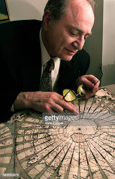 David Karpeles looks at a map drawn in the mid 1500's in Italy It is written in latin and shows such things as antartica including bays and shores...