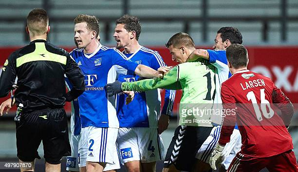 David Katz Boysen first with Martin Svensson of Vejle Boldklub during of Lyngby Boldklub the Danish 1th Division Bet25 Liga match between Lyngby...