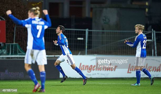 David Katz Boysen of Lyngby Boldklub celebrates after scoring their first goal during the Danish 1th Division Bet25 Liga match between Lyngby...