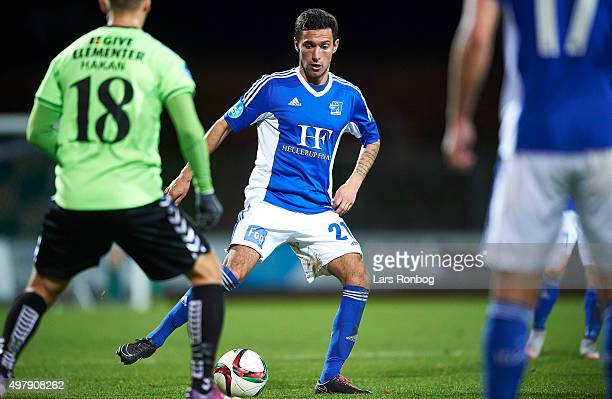 David Katz Boysen of Lyngby Boldklub controls the ball during the Danish 1th Division Bet25 Liga match between Lyngby Boldklub and Vejle Boldklub at...