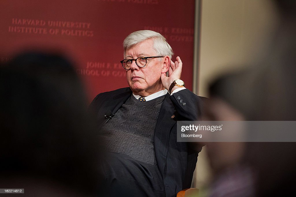 David Keene, president of the National Rifle Association (NRA), listens to John King, chief national correspondent for CNN, unseen, at the Harvard Kennedy School of Government in Cambridge, Massachusetts, U.S., on Wednesday, Feb. 20, 2013. The Fairfax, Virginia-based NRA helped persuade Congress to make it tougher to study illegal firearm trafficking, stymie scientific research on shooting deaths and create restrictions that force U.S. law enforcement to record gun sales on microfiche. Photographer: Scott Eisen/Bloomberg via Getty Images
