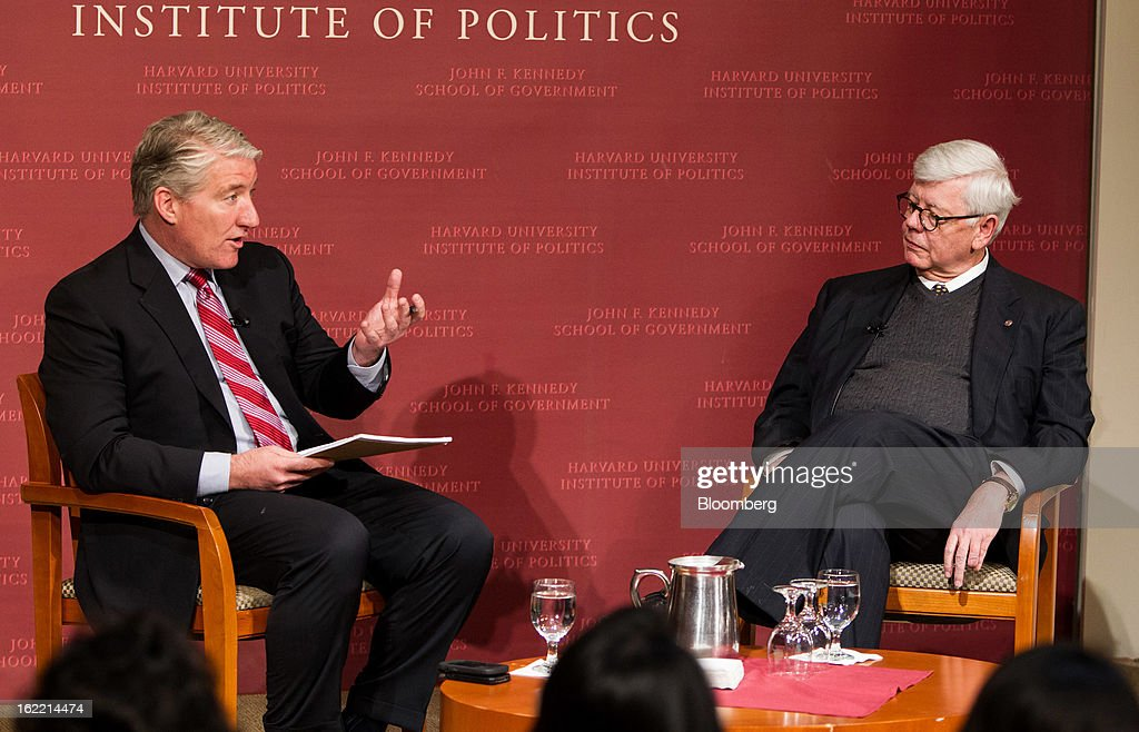 David Keene, president of the National Rifle Association (NRA), right, listens while John King, chief national correspondent for CNN, speaks at the Harvard Kennedy School of Government in Cambridge, Massachusetts, U.S., on Wednesday, Feb. 20, 2013. The Fairfax, Virginia-based NRA helped persuade Congress to make it tougher to study illegal firearm trafficking, stymie scientific research on shooting deaths and create restrictions that force U.S. law enforcement to record gun sales on microfiche. Photographer: Scott Eisen/Bloomberg via Getty Images