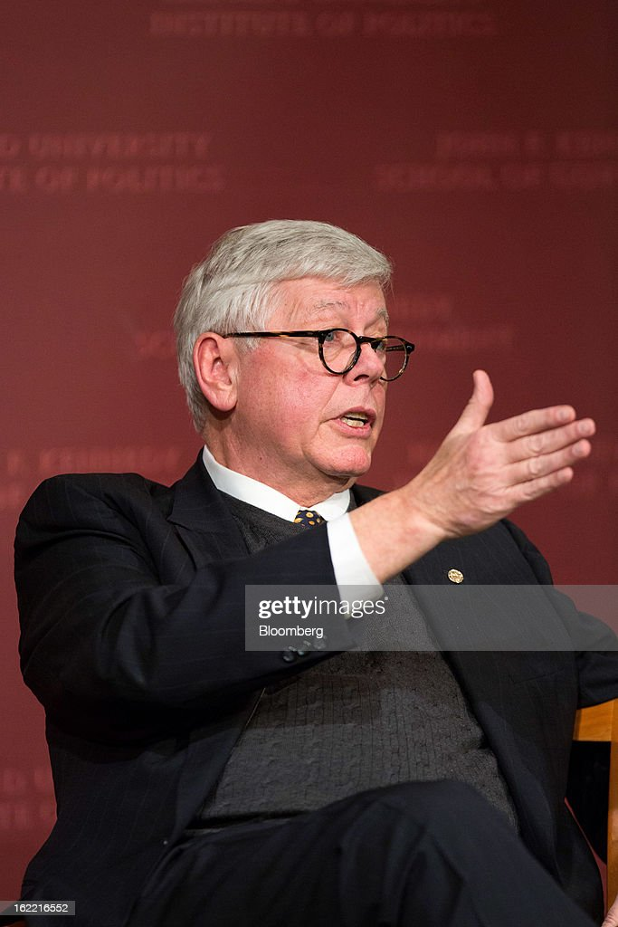 David Keene, president of the National Rifle Association (NRA), speaks during a discussion with John King, chief national correspondent for CNN, unseen, at the Harvard Kennedy School of Government in Cambridge, Massachusetts, U.S., on Wednesday, Feb. 20, 2013. The Fairfax, Virginia-based NRA helped persuade Congress to make it tougher to study illegal firearm trafficking, stymie scientific research on shooting deaths and create restrictions that force U.S. law enforcement to record gun sales on microfiche. Photographer: Scott Eisen/Bloomberg via Getty Images