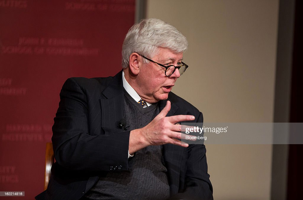 David Keene, president of the National Rifle Association (NRA), speaks with John King, chief national correspondent for CNN, unseen, at the Harvard Kennedy School of Government in Cambridge, Massachusetts, U.S., on Wednesday, Feb. 20, 2013. The Fairfax, Virginia-based NRA helped persuade Congress to make it tougher to study illegal firearm trafficking, stymie scientific research on shooting deaths and create restrictions that force U.S. law enforcement to record gun sales on microfiche. Photographer: Scott Eisen/Bloomberg via Getty Images