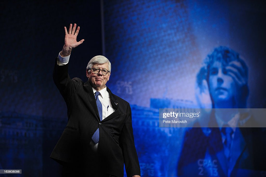 David Keene, President of the National Rifle Association, waves at the 2013 Conservative Political Action Conference (CPAC) March 16, 2013 in National Harbor, Maryland. The American Conservative Union held its annual conference in the suburb of Washington, DC to rally conservatives and generate ideas.