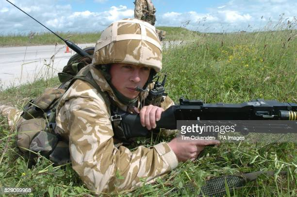 David Kelly from Ballingry Fife a member of the 1st Battalion The Black Watch takes part in a training exercise on Salisbury Plain before the...