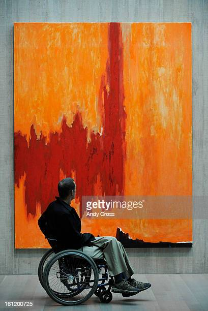David Kennedy views a large painting by abstract expressionist artist Clyfford Still at the new Clyfford Still Museum Friday morning in Denver...