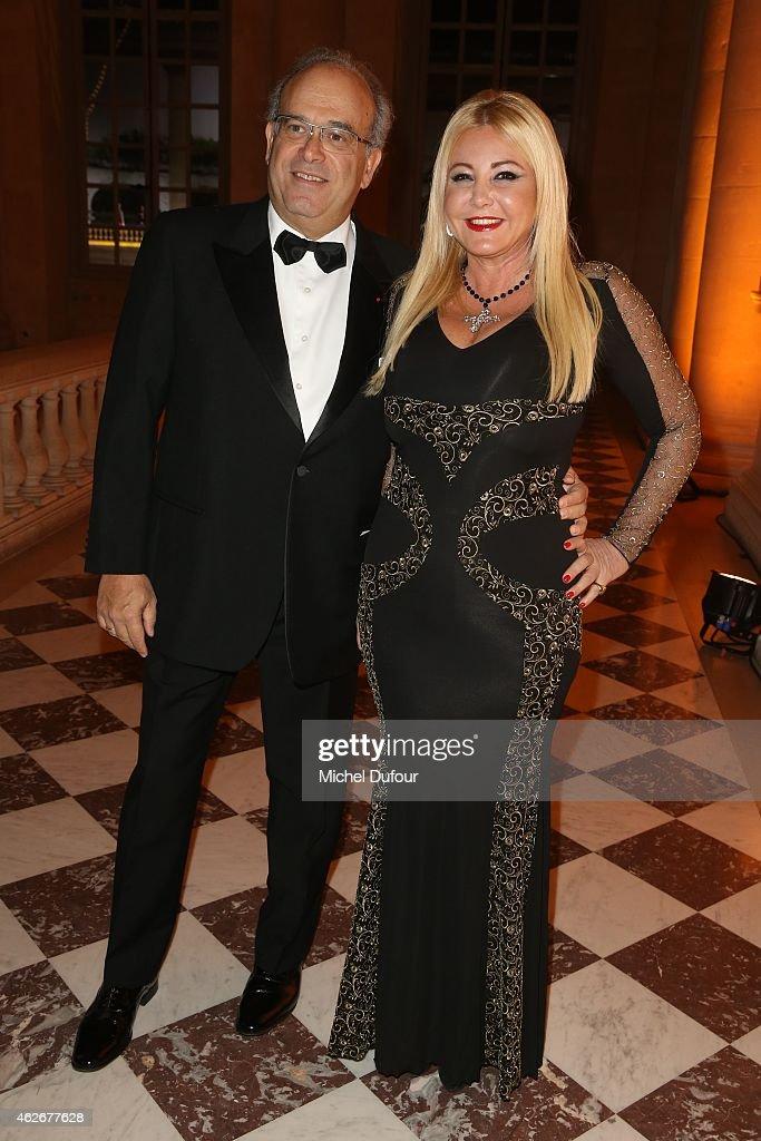 David Khayat and Monica Bacardi attend the David Khayat 'Fondation Avec' Gala Dinner In Versailles on February 2 2015 in Versailles France