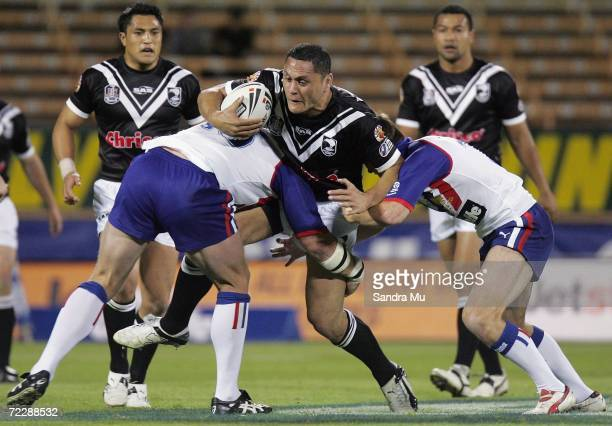 David Kidwell of New Zealand is tackled during the TriNations Series match between the New Zealand Kiwis and the Great Britain Lions at Jade Stadium...