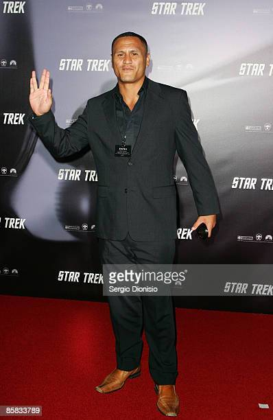 David Kidwell of the Rabbitohs arrives for the world premiere of 'Star Trek' at the Sydney Opera House on April 7 2009 in Sydney Australia