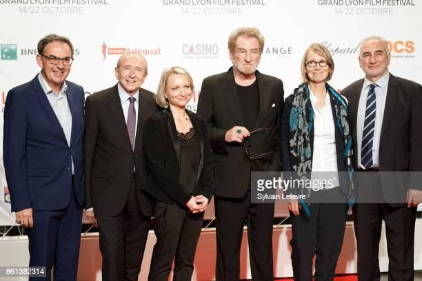 David Kimelfeld Gerard Collomb Caroline Collomb Eddy Mitchell Francoise Nyssen Georges Kepenekian attend opening ceremony of 9th Film Festival...