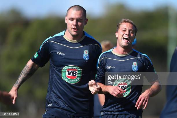 David Klemmer and Matt Moylan during a New South Wales Blues State of Origin training session at Cudgen Leagues Club on May 25 2017 in Kingscliff...