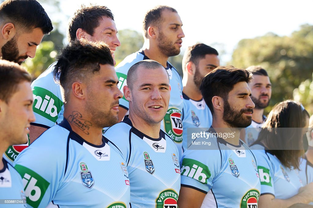 <a gi-track='captionPersonalityLinkClicked' href=/galleries/search?phrase=David+Klemmer&family=editorial&specificpeople=7865064 ng-click='$event.stopPropagation()'>David Klemmer</a> (C) of the Blues looks on during a New South Wales Blues NRL State of Origin team photo session at The Novatel on May 24, 2016 in Coffs Harbour, Australia.