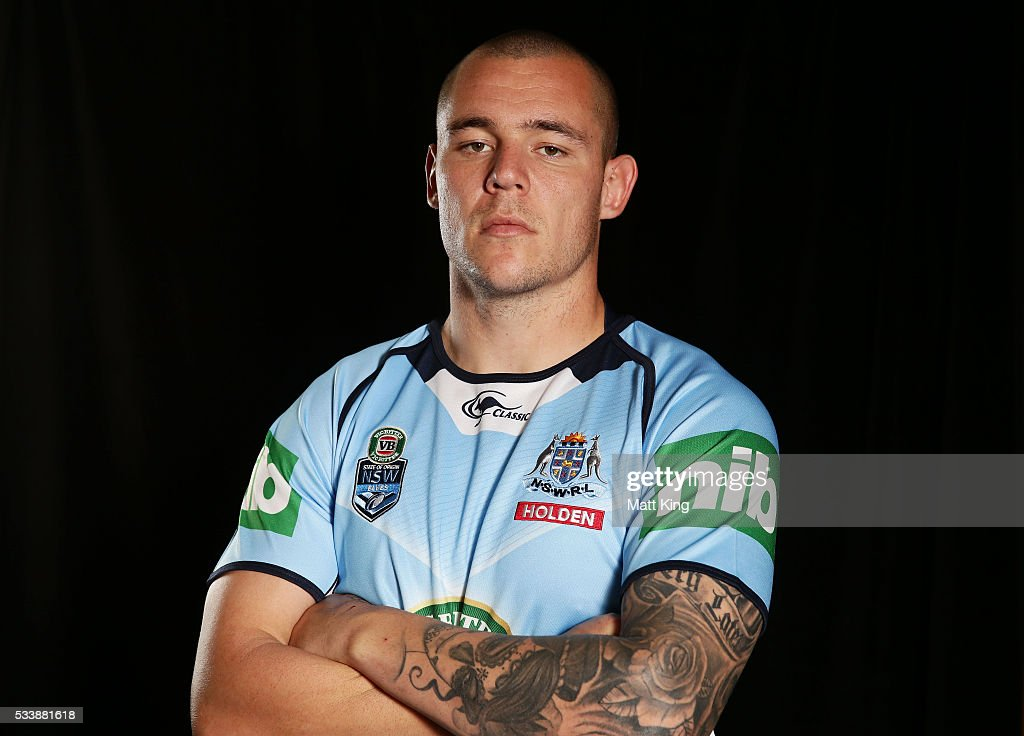 <a gi-track='captionPersonalityLinkClicked' href=/galleries/search?phrase=David+Klemmer&family=editorial&specificpeople=7865064 ng-click='$event.stopPropagation()'>David Klemmer</a> of the Blues poses during a New South Wales Blues NRL State of Origin portrait session at The Novatel on May 24, 2016 in Coffs Harbour, Australia.