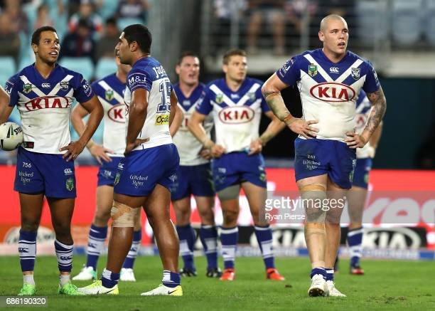 David Klemmer of the Bulldogs looks dejected during the round 11 NRL match between the Canterbury Bulldogs and the Sydney Roosters at ANZ Stadium on...