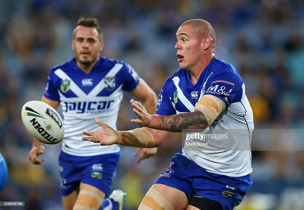 David Klemmer of the Bulldogs passes during the round nine NRL match between the Parramatta Eels and the Canterbury Bulldogs at ANZ Stadium on April 29, 2016 in Sydney, Australia.