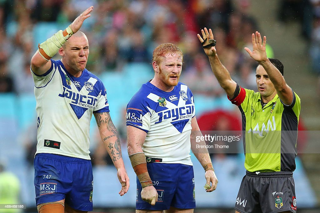 David Klemmer of the Bulldogs reacts after being sent to the sin bin for dissent by referee, Gerard Sutton during the round five NRL match between the Canterbury Bulldogs and the South Sydney Rabbitohs at ANZ Stadium on April 3, 2015 in Sydney, Australia.