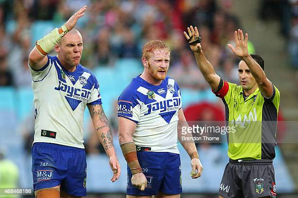 David Klemmer of the Bulldogs reacts after being sent to the sin bin for dissent by referee Gerard Sutton during the round five NRL match between the...