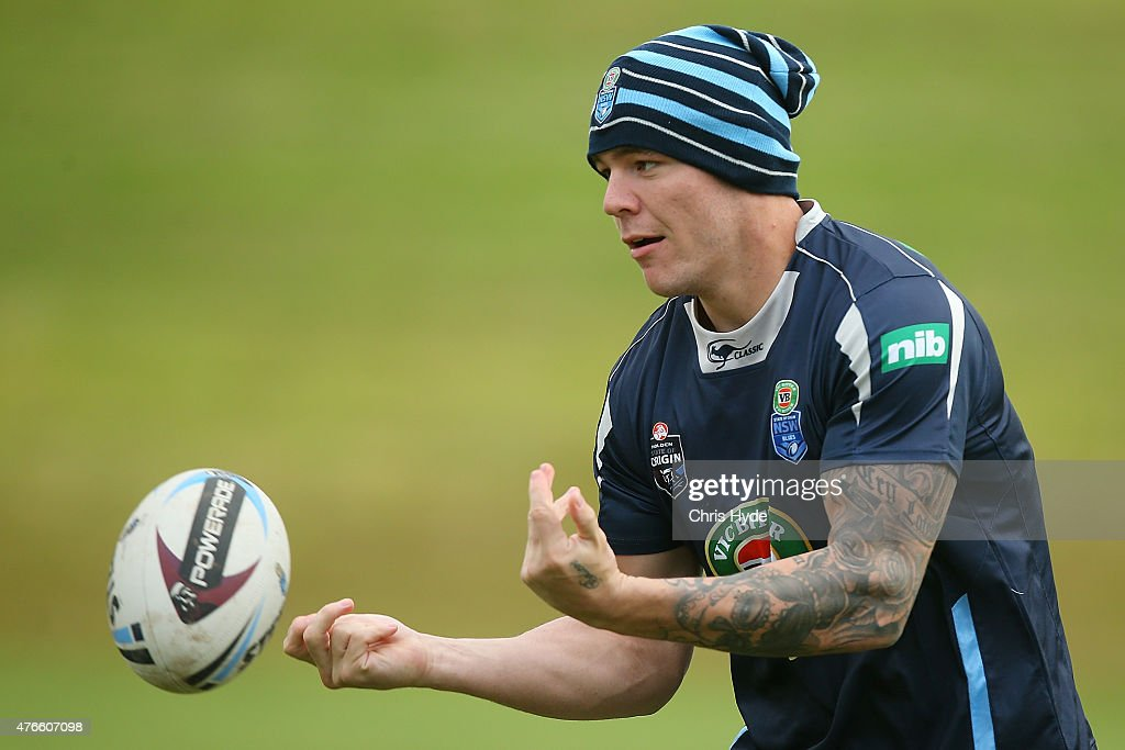 David Klemmer passes during the New South Wales Blues State of Origin team training session at the Novotel on June 11, 2015 in Coffs Harbour, Australia.
