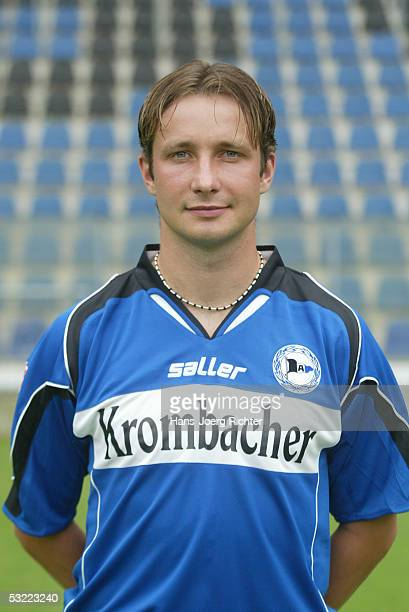 David Kobylik poses during the Team presentation of Arminia Bielefeld for the Bundesliga season 2005 2006 on June 29 2005 in Bielefeld Germany