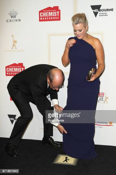 David Koch and Samantha Armytage arrive at the 59th Annual Logie Awards at Crown Palladium on April 23 2017 in Melbourne Australia